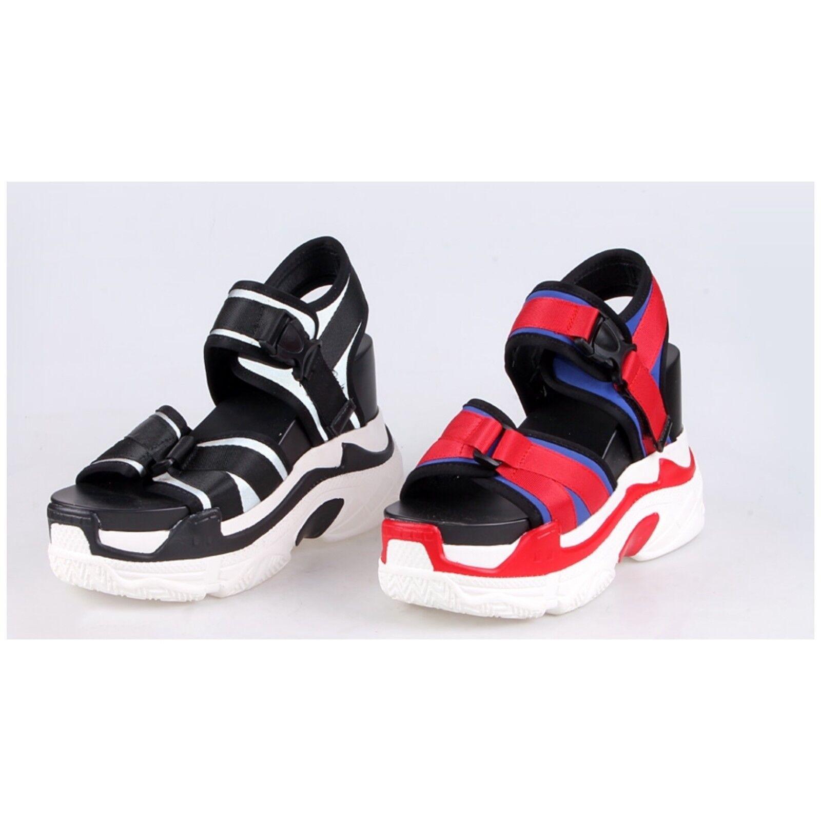 Anthony Wang POMELO Black White Buckle Sandal Hidden Wedge Platform Sneaker