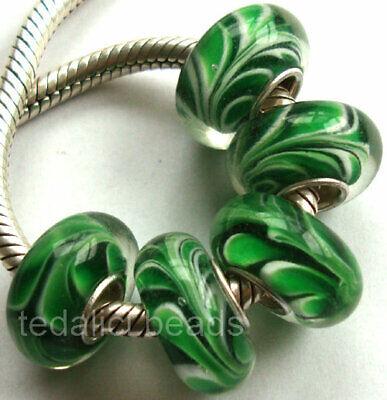 Wholesale Silver Lampwork Murano glass beads Fit European Charm Bracelet TJ131