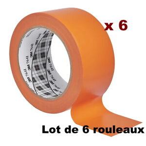 Lot de 6 rouleaux 3M Ruban adhésif vinyle 764I, Orange, 50 mm x 33 mètres --
