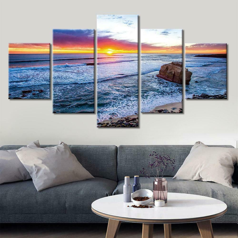 Ocean Sunset Sunrise Seascape Waves Framed 5 Piece NatureCanvas Wall Art Paintin
