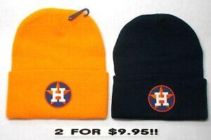 READ-LISTING-Houston-Astros-HEAT-Applied-Flat-Logos-on-2-Beanie-Knit-Cap-hat