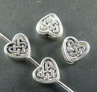 200pcs Tibetan Silver 2Sides Heart Spacer Beads Jewelry DIY 6x5.5x3mm