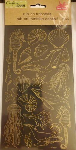 starfish,etc NIP Ocean RUB ON TRANSFERS metallic Seashell,Jellyfish seahorse