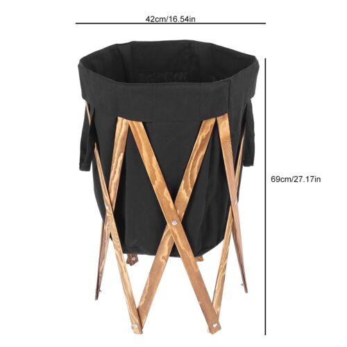 Folding Wood Frame Laundry Hamper Basket Storage Bin Dirty Clothes Washing Bag