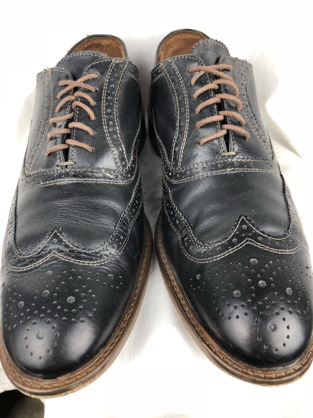 CUOIO  Mens 10D Black Leather White Stitch Wingtip Loafer shoes