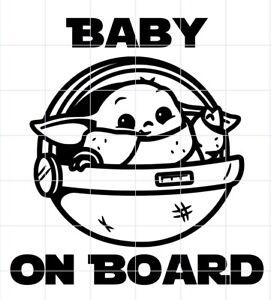 Baby on Board Star Wars /'Baby Jedi on Board/'   Waterproof vinyl car Sticker