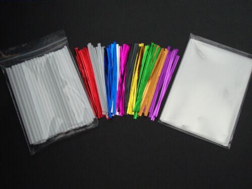 """50 X 4.5/"""" Cake Pop Kit Palos de Plástico 3.5/"""" X 5/"""" bolsos y metálico Twist Lazos de violonchelo"""