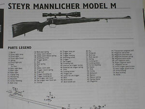 Details about STEYR-MANNLICHER MODEL M RIFLE EXPLODED VIEW