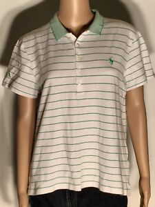 Details about Ralph Lauren Polo Golf Classic Fit AJGA Womens XL White Green  Striped Polo Shirt b3af055e25