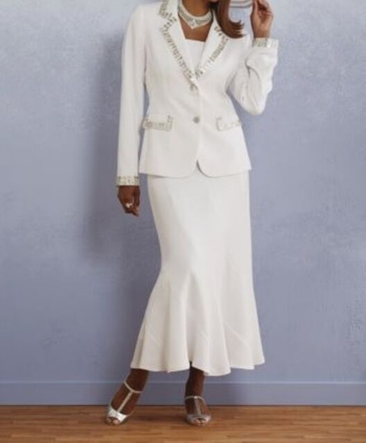 Mother Of bride Groom Wedding Evening White Women's dress Skirt Suit plus 20W 2X