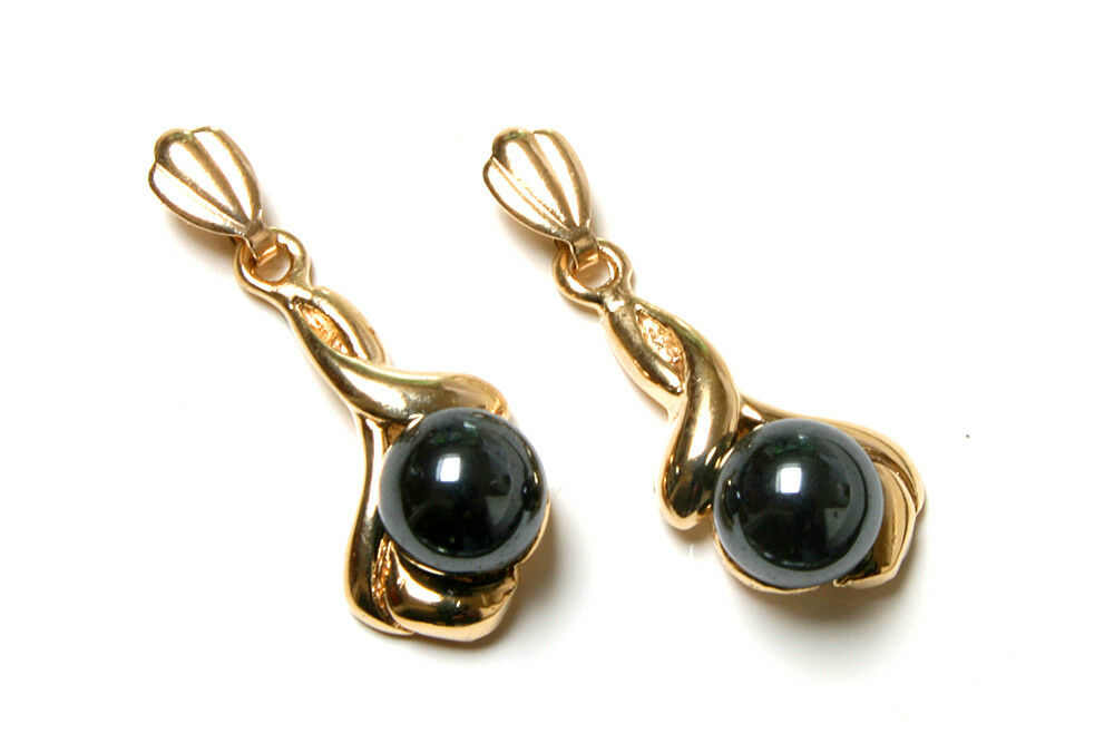9ct gold Fancy Hematite dangly drop earrings Gift Boxed Made in UK