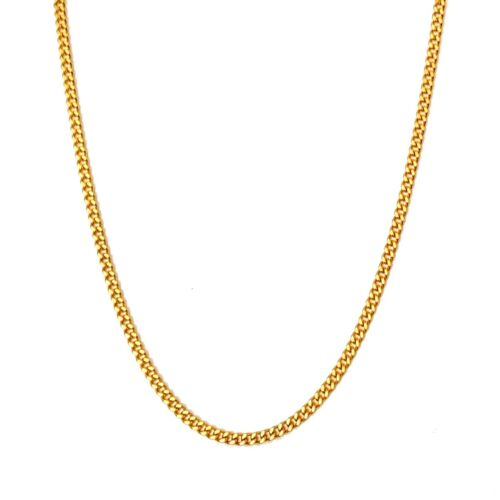 Source 18 inch 18ct Gold Cuban Chain Necklace 2.5mm width