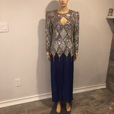 Purple and Gold Beaded Pageant Dress Size Medium Vintage 1980s Evening Gown
