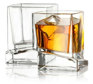 JoyJolt-Carre-Square-Whiskey-Glasses-10-Oz-Set-of-2-Clear-Old-Fashioned-Glasses