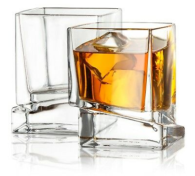 JoyJolt Carre Square Whiskey Glasses, 10 Oz Set of 2 Clear Old Fashioned Glasses