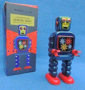 Robot mécanique en tole. GEARING ROBOT win-up Azul. Hauteur 15 cm