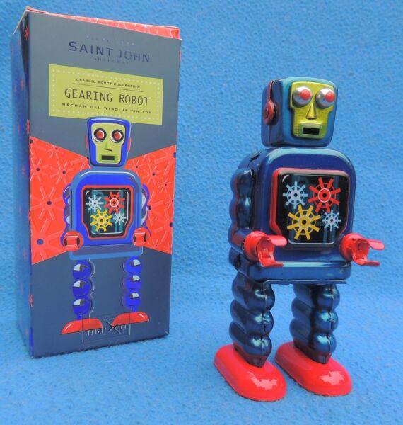 En Herbe Robot Mécanique En Tole. Gearing Robot Win-up Azul. Hauteur 15 Cm Nettoyage De La Cavité Buccale.