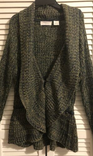 Allison Britney Sweater Ladies sz Large Green& Kha