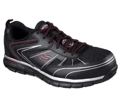 Zapato Viscoelástica Corte Trabajo Ancho 77122 Espuma Skechers Negro Hombre SRwOwWPq4