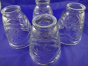 4-Vintage-Clear-Cut-Glass-Light-Lamp-Shades-2-034-Fitters-5-034-x-3-3-4-034