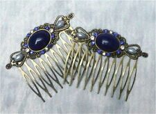 ~ V ~ peinadores ° lapiz ° peinetas ° zafiro ° pelo joyas ° steckkamm ° pedrería ° lapis lazuli-simili ~