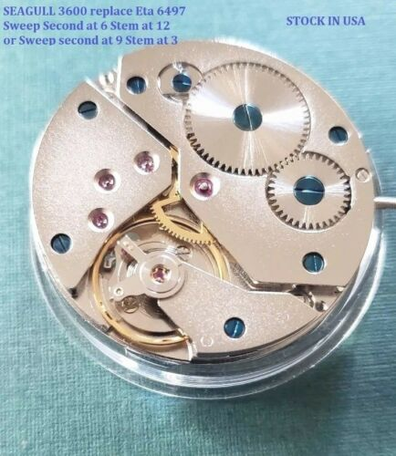 New Seagull ST 3600 Replace Eta 6497 Winding Movement  Sweep S at 6 Stem at 12