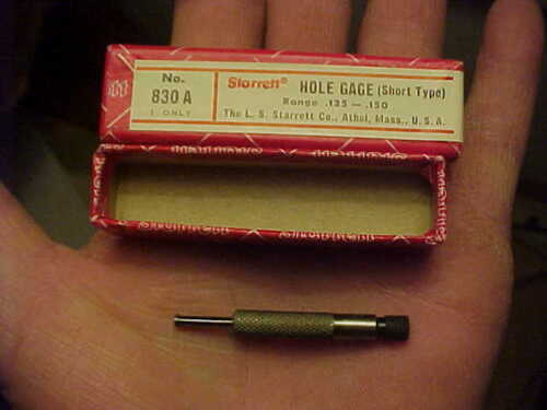 "NOS In Box Starrett No 830A Short type Hole Gage 0.125/"" 0.150/"" Range 2/"" Long"