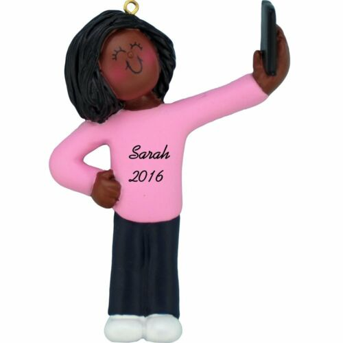 Selfie Ornament Girl taking Selfie Personalized Ornament African American