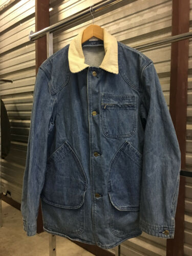 MENS MEDIUM Vtg L.L. Bean Unlined Denim Corduroy Collar Chore Coat Jean Jacket