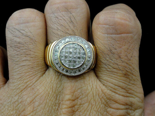 Men/'s New Gold Finish Diamond Simulated Ring Band Size 8-12 US Seller+Free Ship