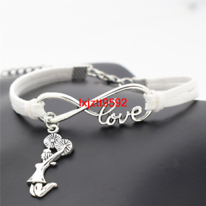 56d5808877598 Details about Silver Infinity Love Cheerleader Cheer Charms Bracelet  Bracelets Women (SL771)