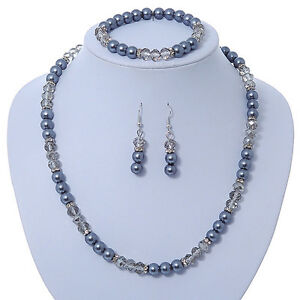 Anthracite-Light-Grey-Glass-Bead-With-Crystal-Rings-Necklace-Flex-Bracelet