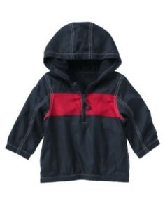 Gymboree eastern seaboard navy w red chest stripe hooded jacket 6 12