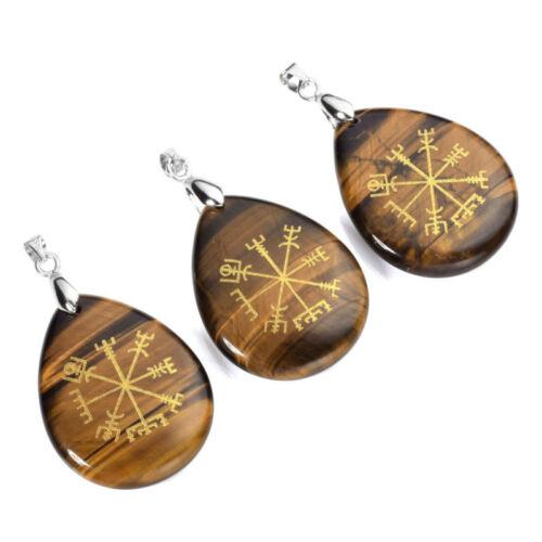 Natural Gemstone Teardrop Carved Vegvisir Crystal Pendant Healing Energy Gift