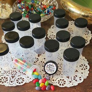 20-Plastic-Tube-JAR-RX-Container-Black-Screw-Cap-Pill-Candy-Bottle-3814-DecoJars