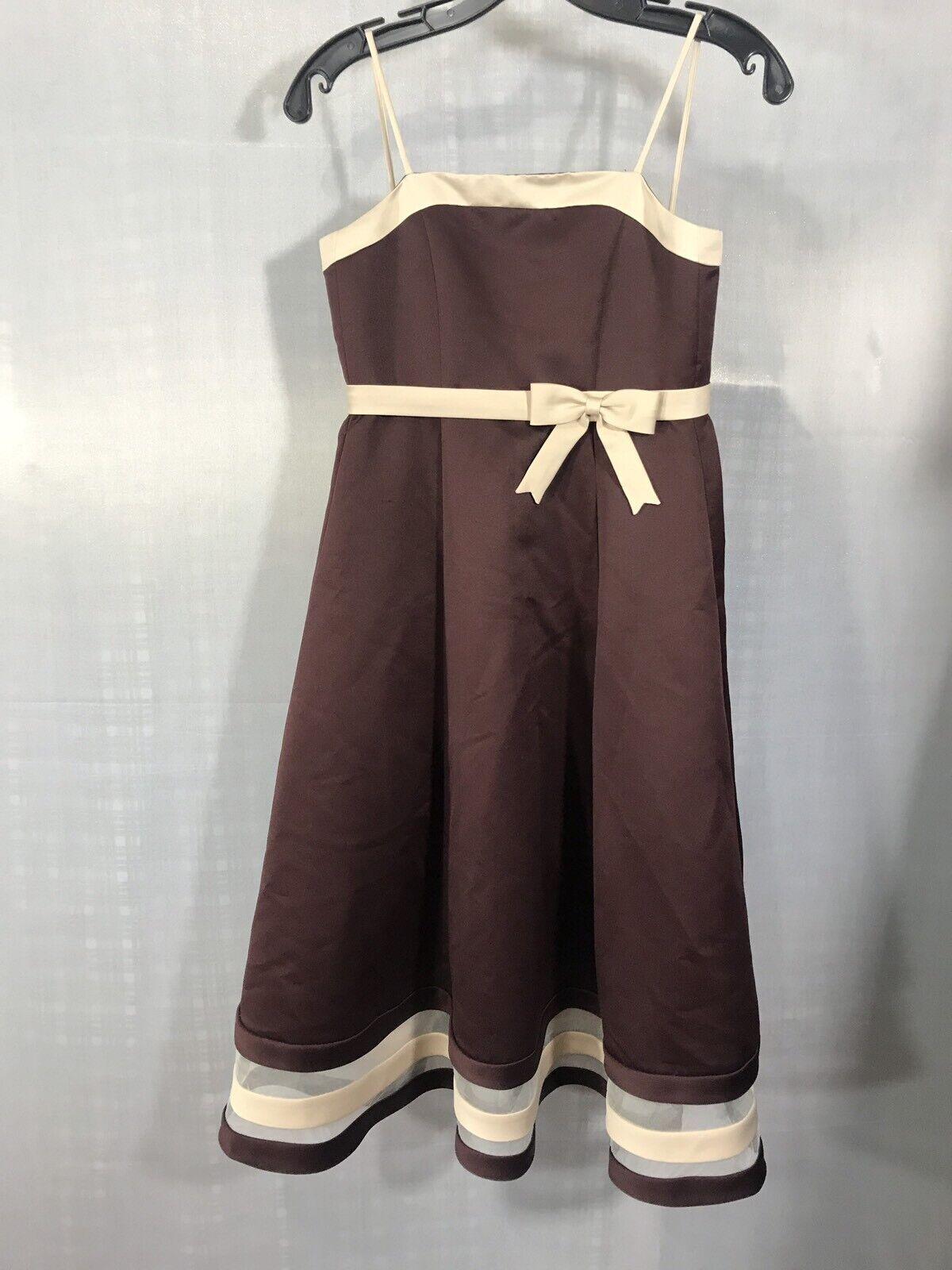 Eden Bridals Dress Princess Flower Girl Size 6 Bridesmaid Bow Brown Cream Formal