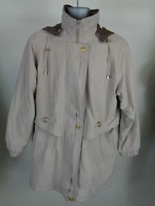 WOMENS-DAVID-BARRY-BEIGE-BROWN-PADDED-BUTTON-UP-HOODED-JACKET-COAT-SIZE-UK-12