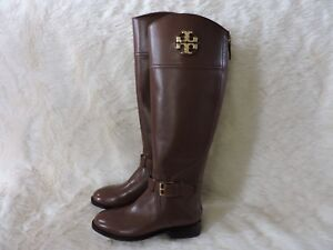 2c6c2ac7abc1 NEW  498 TORY BURCH ADELINE RIDING BOOT LEATHER ALMOND BROWN GOLD ...