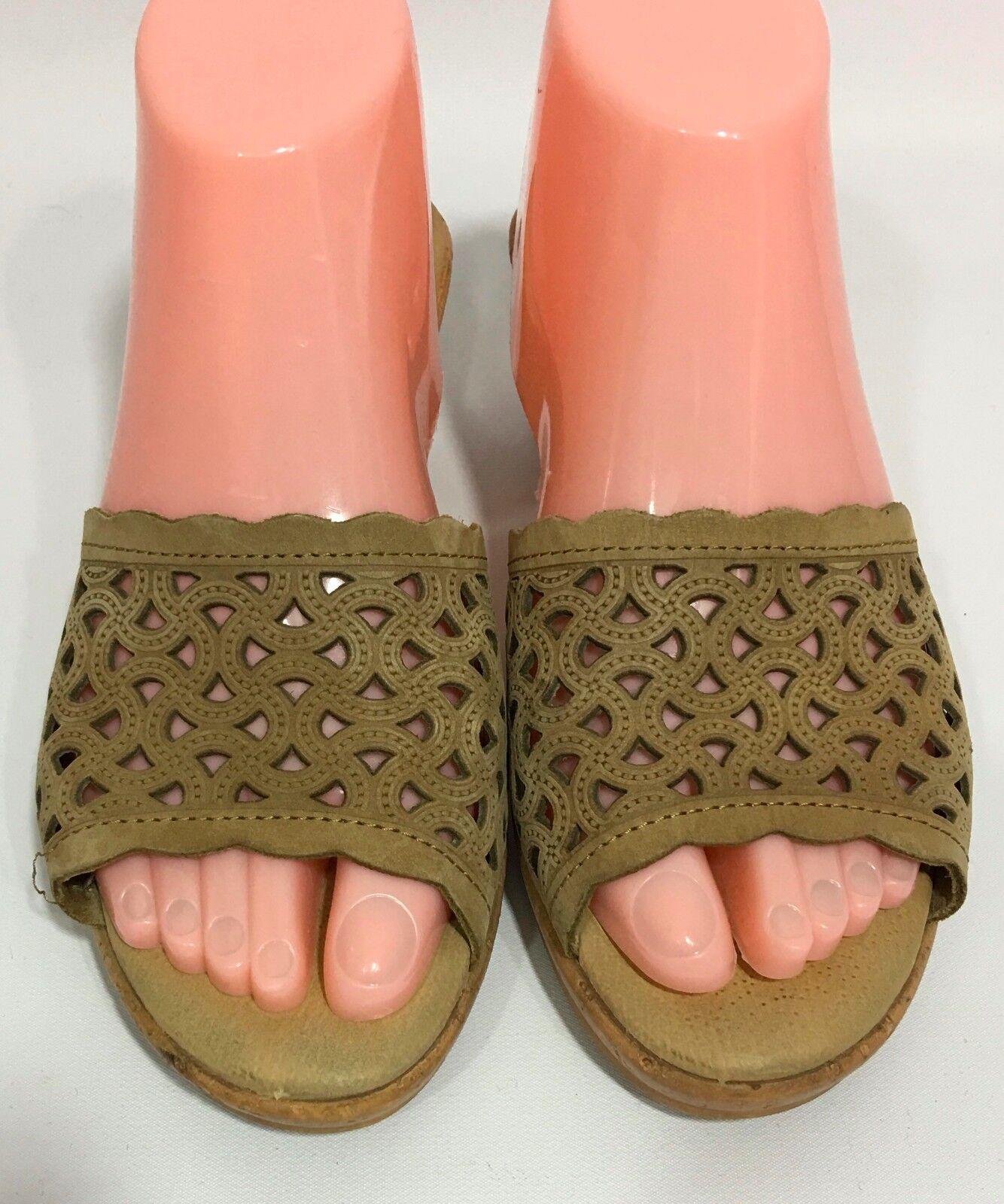 Spring Step Tan Beige Wedge Heel Sandals Slides 7.5/8 Shoes Size 38 US 7.5/8 Slides 610320