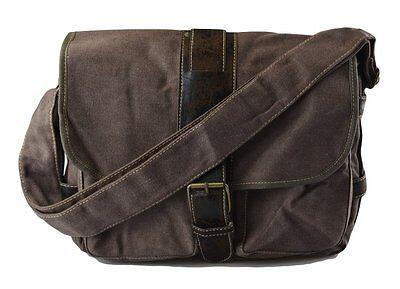 Mens Cotton Canvas Casual Medium Size Daily Messenger Shoulder Bag(B3061)-Brown