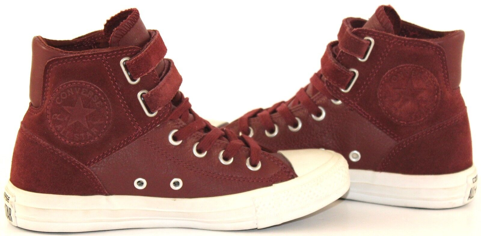 Converse All Star Chuck Taylor Women's Two Strap Leather Leather Leather Hi tops Burgundy 0ed38f