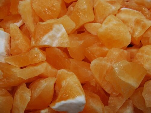 a FREE Faceted Gem 1000 Carat Lots of Unsearched Natural Orange Calcite Rough