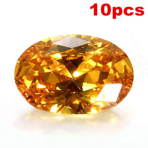 10PCS-Yellow-Sapphire-Gem-Oval-Shape-Natural-Loose-Gemstone-Jewelry-Gift-10x14mm