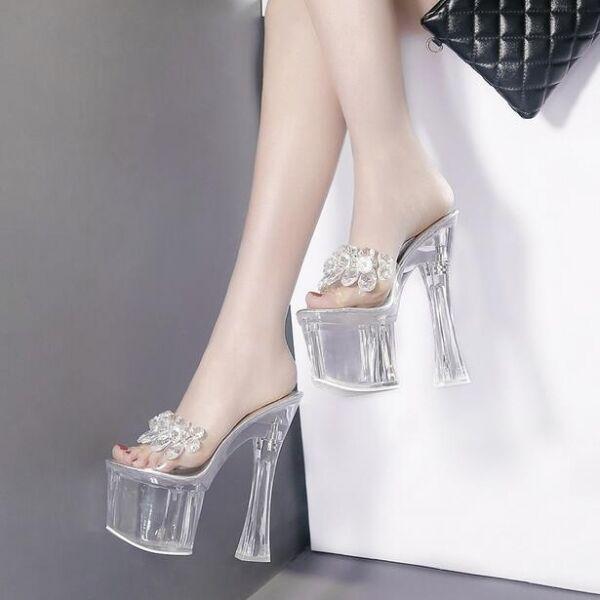 Último gran descuento Sandalias de mujer zapatillas zuecos tacón de aguja plataforma 18 cm