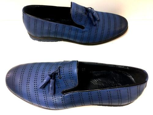 Blau Neue Mokassin Mocassin Herrenschuhe Mode Slipper Leder Loafer Lochdesign 7wIqA