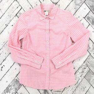 J-Crew-Thomas-Mason-Shirtings-Sz-2-Pink-Gingham-Button-Up-Shirt-Top-21486