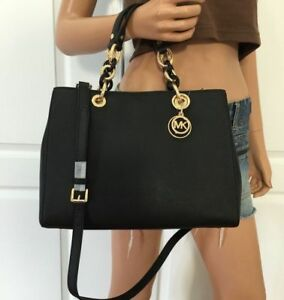 e0539bde7ae0 ... discount code for image is loading michael kors 100 cynthia medium  saffiano leather satchel cc8e6 be33f