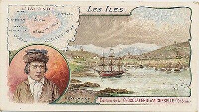 CHROMO CHOCOLATERIE D'AIGUEBELLE LES ILES L'ISLANDE TEXTE AU DOS