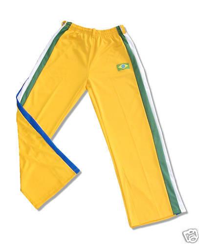 Gr S gelb mit Streifen NEU CAPOEIRA HOSE BRASILIEN