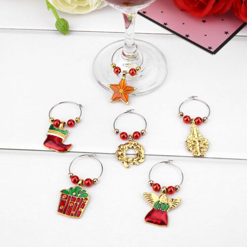 FFE9 6Pcs//set Christmas Wine Glass Charms Decoration Cup Ring Party Xmas Pendant